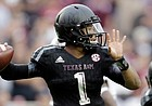 In this Oct. 31 photo, Texas A&M quarterback Kyler Murray throws against South Carolina in College Station, Texas. Following the season, Murray left the team. He signed with Oklahoma on Thursday.