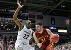 Iowa State's Georges Niang (31) drives against Cincinnati's Coreontae DeBerry (22) during the Cyclones' 81-79 victory over the Bearcats Tuesday, Dec. 22 in Cincinnati. Niang and the Cyclones are among the challengers to Kansas' streak of 11-straight Big 12 regular season titles.