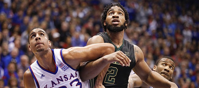 Kansas forward Landen Lucas (33) and guard Wayne Selden Jr. box out Baylor forward Rico Gathers (2) during the second half, Saturday, Feb. 14, 2015 at Allen Fieldhouse.