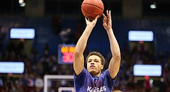 Kansas junior guard Brannen Greene takes pre-game shots before the Jayhawks take on Oklahoma, on Jan. 4, 2016, at Allen Fieldhouse.