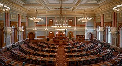 The House of Representatives chamber of the Kansas Statehouse is pictured July 23, 2014 in Topeka.