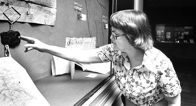 Ann Hyde, former manuscripts librarian at the Kenneth Spencer Research Library at Kansas University, works in the library in this 1982 archive photo.