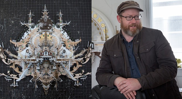"Lawrence artist Kris Kuksi works out of a old church in North Lawrence, creating intricate multimedia assemblages out of model kits and other small pieces that require a steady hand and an open mind. His exhibition at the Lawrence Arts Center, ""Kris Kuksi. New Works,"" opens Jan. 15."