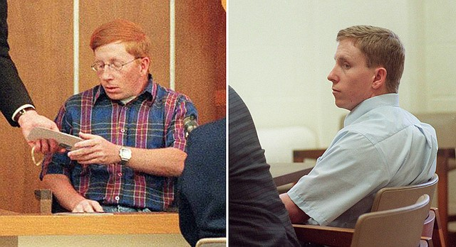 Floyd Bledsoe, right, and his brother, Tom, left, are shown in Jefferson County District Court during Floyd's first-degree murder trial in April 2000.