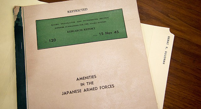 """""""Research Report No. 120: Amenities in the Japanese Armed Forces"""" is part of former KU professor Grant Goodman's personal papers, now located in the University Archives at KU's Spencer Research Library. The report, which Goodman translated for the U.S. Army during World War II, proves Japan had government-controlled brothels — featuring enslaved """"comfort girls"""" from across Asia — specifically for its military men's pleasure during World War II."""