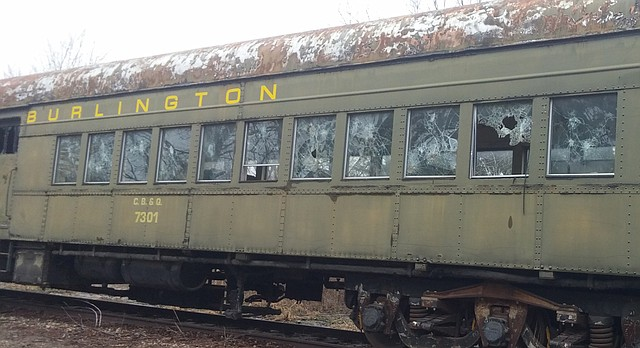Damage on one of Midland Railway Historical Association's rail cars. The organization said it has had a vandalism problem for the past several years.