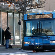 A Lawrence Transit System bus stops just south of Seventh and Vermont streets, Monday, Jan. 18, 2016.
