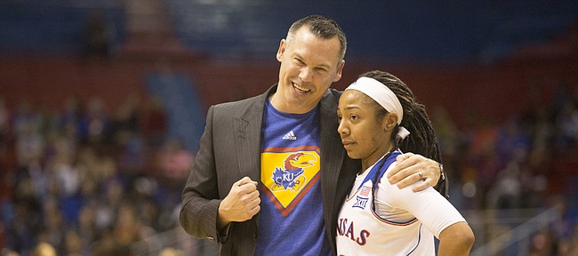 Kansas coach Brandon Schneider pulls Timeka O'Neal aside for a talk after she committed an unforced turnover during their game against Oklahoma State on Sunday afternoon at Allen Fieldhouse. The Jayhawks suffered their 10th consecutive loss, falling to Oklahoma State, 74-46.