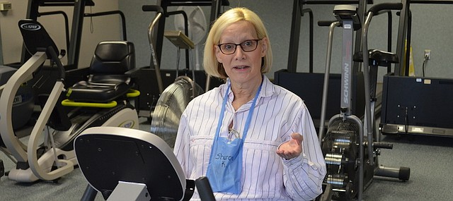 Cardiac patients like Sharon Kindall of Lawrence gain strength and confidence exercising in the medically-supervised environment of the Cardiac and Pulmonary Rehabilitation program at Lawrence Memorial Hospital.
