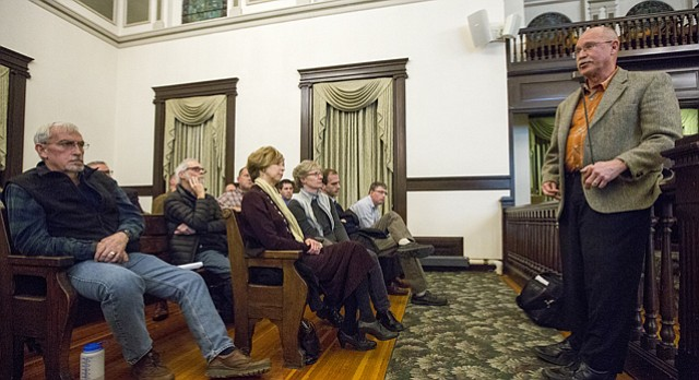 County Administrator Craig Weinaug answers questions during a town hall meeting discussing the expansion of the jail on Monday evening in the County Commission meeting room on the second floor of the Douglas County Courthouse, 111 E. 11th St.