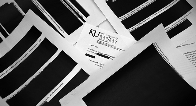 These are several of the most heavily redacted pages that the University of Kansas provided to the Journal-World after the newspaper filed an open-records request for documents related to two fraternities currently on probation for hazing. KU redacted information throughout the 23-page batch of documents, including all descriptions of the nature of hazing activities. KU says it redacted the documents to protect the identity and privacy of fraternity members.