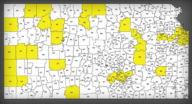 Consolidation In School This map, provided by the Kansas Association of School Boards, shows in yellow school