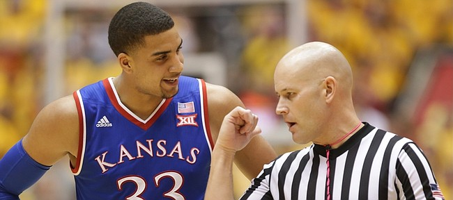 Kansas forward Landen Lucas (33) talks with an official about a call against him during the second half, Monday, Jan. 25, 2016 at Hilton Coliseum in Ames, Iowa.
