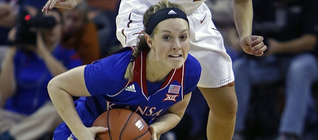 Kansas University guard Lauren Aldridge, front, looks to pass against Texas guard Brooke McCarty during the first half of KU's 70-46 loss on Wednesday in Austin, Texas.