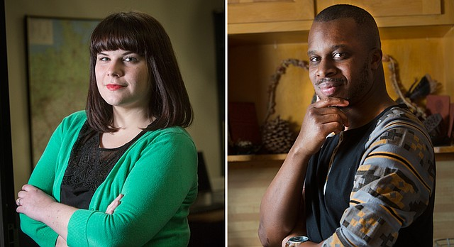 From left, Kate Russell and Tai Amri Spann-Wilson are the 2016 Langston Hughes Creative Award winners for fiction writing and poetry, respectively.
