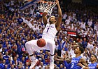 Kansas guard Wayne Selden Jr. (1) delivers a dunk against Kentucky during the first half, Saturday, Jan. 30, 2016 at Allen Fieldhouse.