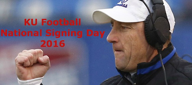 Second-year KU football coach David Beaty is set to officially welcome the rest of KU's 2016 recruiting class on national signing day 2016.