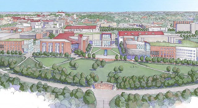 "This concept drawing from Kansas University's 2014-2024 Master Plan shows ""Innovation Way,"" the proposed redevelopment of KU's Central District where Stouffer Place Apartments were located. This drawing shows campus from a vantage point behind the residence halls on Daisy Hill, looking east at Irving Hill Road."