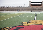 The Lawrence High football field is pictured on Friday, Feb. 5, 2016.