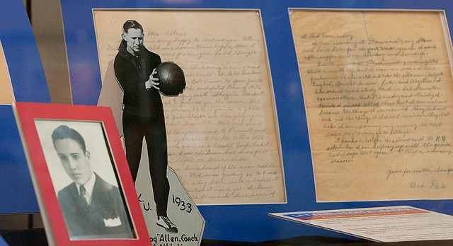 "The exhibit ""Letters from a Leader: Phog Allen to Bob Dole, 1938-1939,"" is currently on view in the Darby Gallery at Kansas University's Dole Institute. KU Endowment is hoping to raise funds to digitize KU's Phog Allen collection, which includes the letters between him and Dole that are on display now."