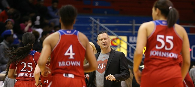 Kansas head coach Brandon Schneider gives the Jayhawks a confused expression as they come off the court following a turnover during the first half on Wednesday, Feb. 17, 2016 at Allen Fieldhouse.