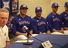 KU baseball coach Ritch Price talks about this year's team as a few team members listen in as KU held its media day on Wednesday, Feb. 17, 2016.