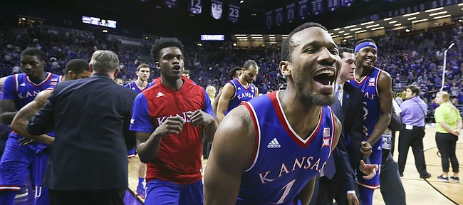 Kansas guard Wayne Selden Jr. (1) and the Jayhawks are all smiles as they leave the court following their 72-63 win over Kansas State, Saturday, Feb. 20, 2016 at Bramlage Coliseum in Manhattan, Kan.