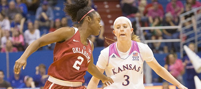 Kansas sophomore Lauren Aldridge (3) crosses the ball over as she brings it up the court under pressure from Oklahoma's T'ona Edwards (2) during their game Saturday afternoon at Allen Fieldhouse.