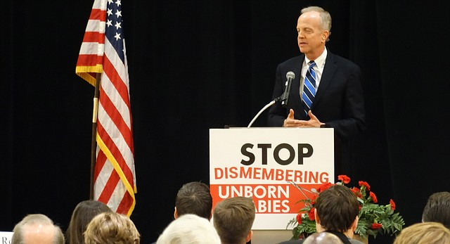 U.S. Sen. Jerry Moran speaks at the Kansans for Life prayer breakfast at the state Republican Party convention on Feb. 20, 2016. KFL issued early endorsements for Moran and all four U.S. House members from Kansas.