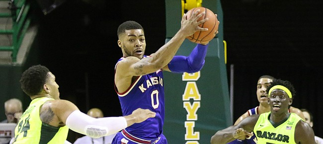 Kansas guard Frank Mason III (0) steals a pass with little time remaining during the second half, Tuesday, Feb. 23, 2016 at Ferrell Center in Waco, Texas.
