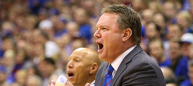 Kansas head coach Bill Self applauds his team during the second half, Tuesday, Dec. 29, 2015 at Allen Fieldhouse.