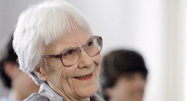 "Author Harper Lee is shown during a ceremony for the Alabama Academy of Honor at the Capitol in Montgomery, Ala., Aug. 20, 2007. Lee, who died Feb. 19, 2016 at age 89, is credited with helping friend Truman Capote meet Kansans who gave him the information he needed for his book, ""In Cold Blood."""