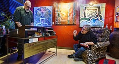 Marty Olson, left, mans the keyboard while Steve Wilson rehearses vocals on Wednesday, Feb. 25, 2016 at Do's Deluxe salon, 416 E Ninth St. The band Thumbs has been inducted into Kansas Music Hall of Fame and is preparing for a March 5, 2016 performance at the induction ceremony. Both Olson and Wilson are founding members of Thumbs.