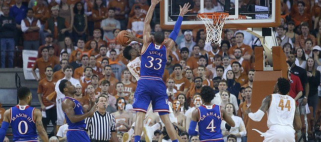 Kansas center Landen Lucas defends against Texas guard Kerwin Roach, Jr. (12) in a game against the Longhorns Monday, Feb. 29, 2016 at the Frank Erwin Center in Austin, Texas. .