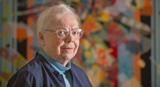 KU distinguished professor emerita of art history Marilyn Stokstad, pictured in her Lawrence home in this 2014 Journal-World photo, died Friday, March 4, 2016, at 87.