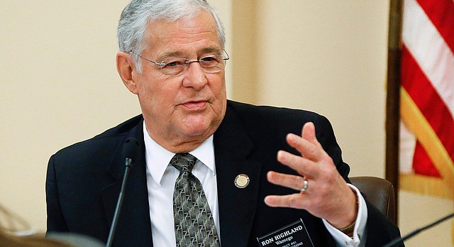 Kansas Rep. Ron Highland, R-Wamego, chairman of the Kansas House Education Committee, offers an amendment to House Bill 2486 on Tuesday March 8, 2016, at the Kansas Statehouse in Topeka, Kan. The amendment would give the power to approve or reject school construction bond proposals to lawmakers on the Joint Committee on State Building Construction.(Chris Neal/The Topeka Capital-Journal via AP)