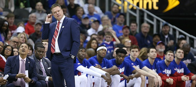 Kansas head coach Bill Self scratches his head during the second half, Friday, March 11, 2016 at Sprint Center in Kansas City, Mo.