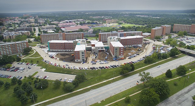 An aerial image shows Daisy Hill with the additions of Oswald and Self Halls during the construction process on Wednesday, July 15, 2015.