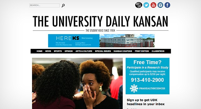 This screenshot shows the front page of the University Daily Kansan website, kansan.com, as it appeared Friday morning, March 11, 2016.