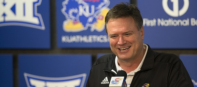Kansas coach Bill Self speaks during a news conference following the NCAA Tournament selection show on CBS, Sunday, March 13, 2016. The Jayhawks were given the No. 1 seed in the South Regional and will play Austin Peay on Thursday in Des Moines.