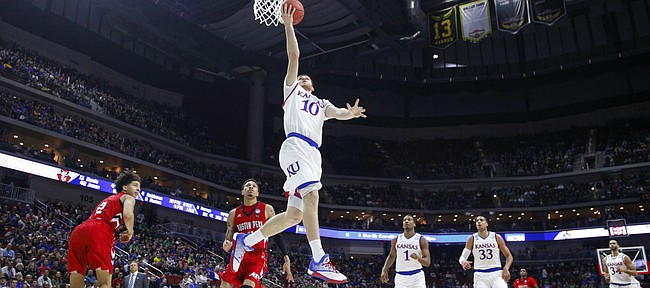 Kansas guard Sviatoslav Mykhailiuk (10) floats in for a bucket against Austin Peay during the second half, Thursday, March 17, 2016 at Wells Fargo Arena in Des Moines, Iowa.