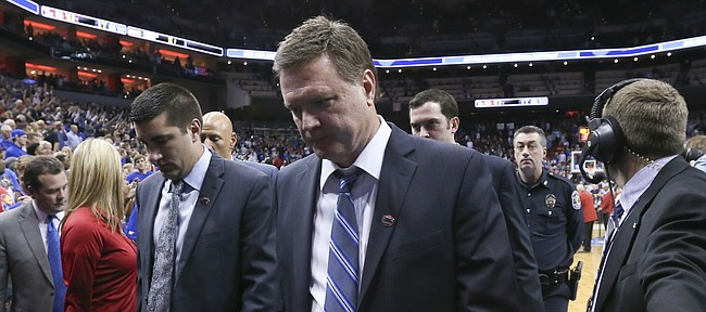 Kansas head coach Bill Self leaves the court following the Jayhawks' 64-59 loss to Villanova, Saturday, March 26, 2016 at KFC Yum! Center in Louisville, Kentucky.