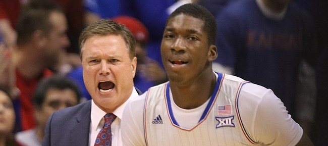 Kansas head coach Bill Self gets in the ear of Kansas forward Cheick Diallo (13) during the first half, Monday, Feb. 15, 2016 at Allen Fieldhouse.