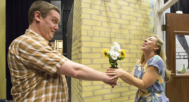 "Melinda Nichols and Dan Heinz rehearse a scene from Theatre Lawrence's upcoming production of ""A Streetcar Named Desire"" on Thursday, March 31, 2016 at the theater, 4660 Bauer Farm Drive."