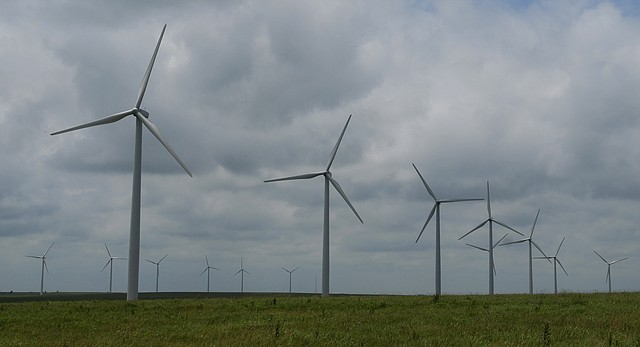 This file photo shows the Elk River Wind Project, Kansas' biggest wind farm, located along U.S. 400 in southeastern Butler County.