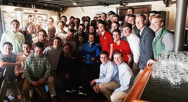 Fifty members of Kansas University's Beta Theta Pi fraternity took an overnight bus ride to Evergreen, Colo., where they initiated freshman Tom Babb in a special ceremony Feb. 20, 2016. The rest of Babb's pledge class had been initiated Feb. 7 in Lawrence, but Babb could not be there. While on a family vacation in Hawaii over winter break, Babb was paralyzed in an accident and hospitalized more than three months following.