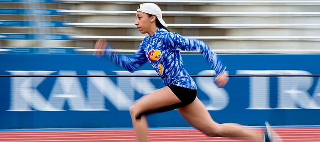 Deanna Dougherty, Kansas University freshman from Olathe and a member of the Kansas Jayhawks track and field team, practices her triple-jump approach Monday, April, 18, 2016. The 2016 Kansas Relays begin Wednesday at Rock Chalk Park with collegiate decathlon and heptathlon events and continue through Saturday. Two unique invitational events will include the Street Pole Vault event on Thursday evening and the Downtown Lawrence Shot Put event on Friday.