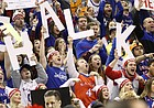 Kansas fans celebrate during filming of the ESPN College GameDay at Allen Fieldhouse on Saturday, Jan. 30, 2016, hours before the tip-off between KU vs. Kentucky men's basketball game. The NCAA named Allen Fieldhouse the loudest arena in college basketball in December of 2013.