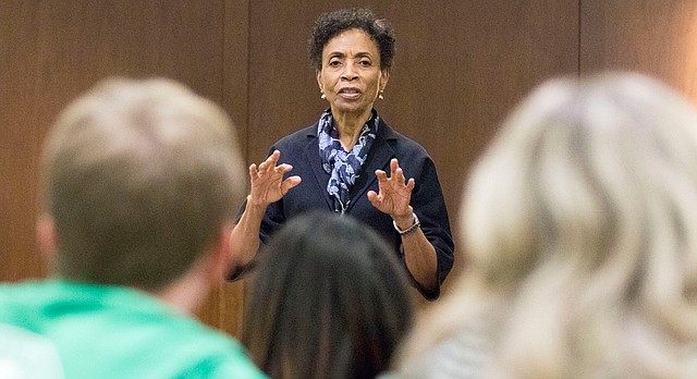 Kansas University Chancellor Bernadette Gray-Little speaks to the Kansas University Student Senate at the start of the Senate's March 9, 2016, meeting at the Kansas Union. Gray-Little was the invited guest speaker and gave a general update on university issues.