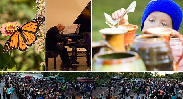 "Weekend Guide for May 6, 2016, clockwise from top-left: Monarch Watch Spring Open House and Plant Fundraiser; Pianist Steven Spooner, headlining the Lawrence Community Orchestra's ""Russian Masters"" concert; Lawrence Potters Guild Spring Sale; Kansas Food Truck Festival."